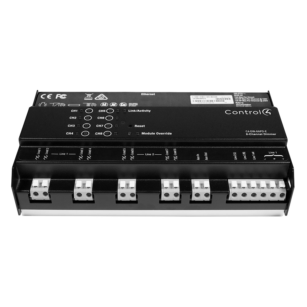 DIN Rail 8 Channel Adaptive Phase Dimmer