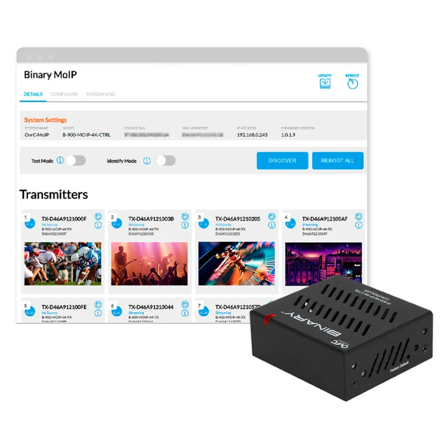 Binary™ 900 Series 4K Media over IP Controller